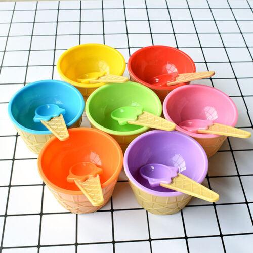 Gaufre cône Bol /& Matching Crème Glacée Cuillère Set Plastique désert Sundae Holder LOT