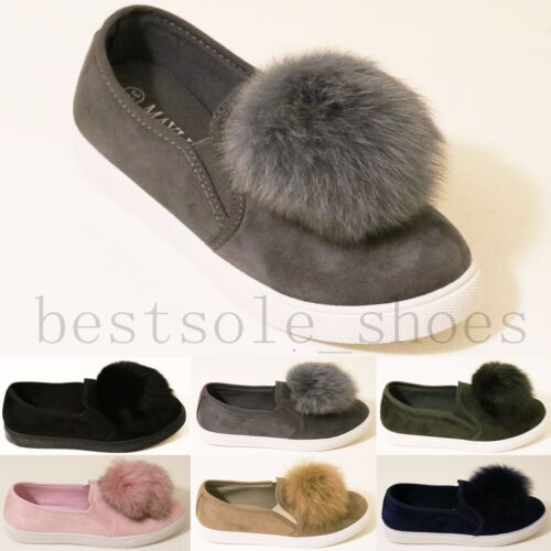Womens Ladies Pom Pom Suede Loafers Brogue Pull On Flat Trainers Pump Shoes Size
