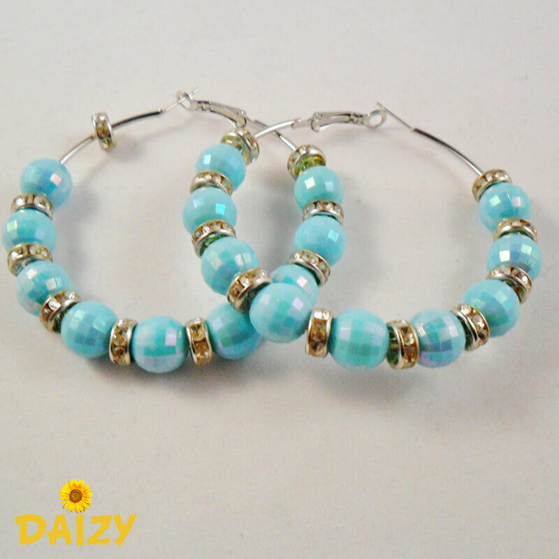Basketball Wives Hoop Earrings Blue Hoop Earrings Bling Small Silver Hoops