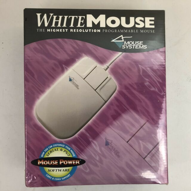 VTG Mouse Systems White Mouse 3 Button 1995 Serial & PS/2 Win 95 Compatible NOS
