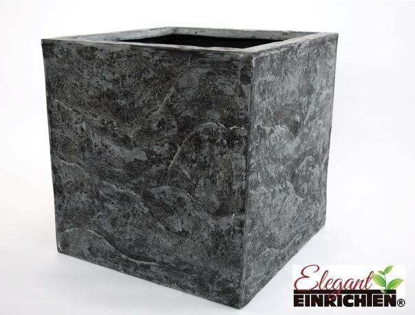 Blaumenkübel Fiberglas Stein-Optik quadratisch 40x40x40cm anthrazit grau.