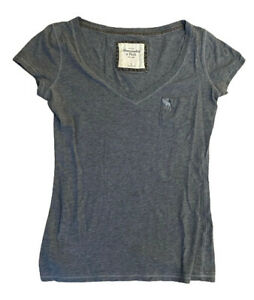 Abercrombie-amp-Fitch-Women-039-s-T-Shirt-Grey-Small-Cotton-Blend