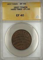 1837 Hard Times Token EF Sise & Co Portsmouth NH HT-195 ANACS EF-40 (B)