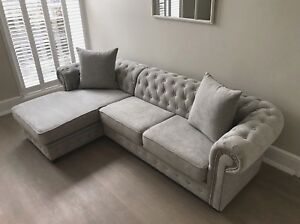 Image Is Loading Chesterfield Corner Sofa Velour Fabric Light Grey 3