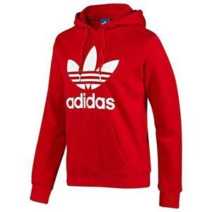 Details about Adidas Originals Trefoil Hoodie Red Medium Hooded Jumper Sweatshirt Top Quality