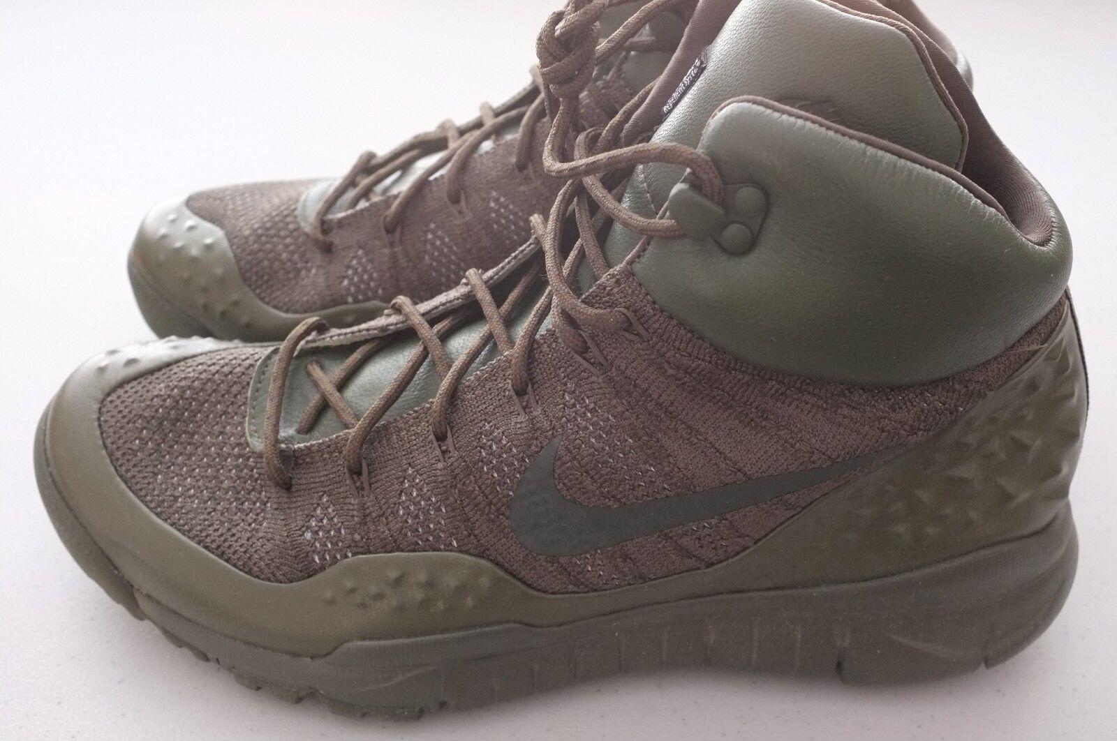 NEW Nike Mens Lupinek Flyknit Sneaker Boots Khaki Olive Sz 10.5 (862505-300)