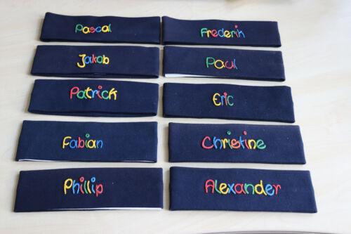 Restposten Stirnbänder mit Namen für Kinder Baby Junge blau