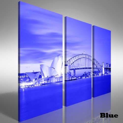 Sydney Harbour At Dusk Treble Canvas Print Large Picture Wall Print