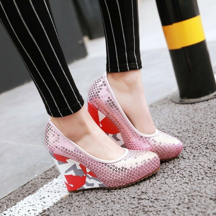 Sequins Fashion Womens Platform Spring Slip On Party Dress Wedge High Heels shoes