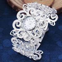 Luxury Flower Rhinestone Bracelet Lady Women Quartz Wrist Watch Dress Bangle