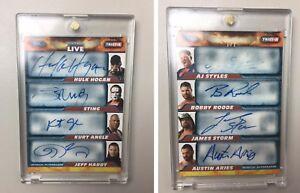 8 Wrestling Autos 1 Card! Hulk Hogan Sting AJ Styles Kurt Angle wwe topps #1/1