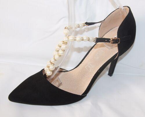 Noche de salón de baile zapatos tacón alto perlas con tiras negro LH 910 s4