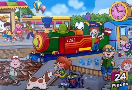 24 Pieces Train Staion JIGSAW PUZZLE Kids Girls Boys Toy Gift Puzzle Family Game