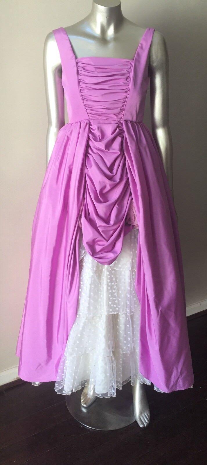 Bustle Vintage 80s Tafetta Lace Long lila Weiß Formal Prom Dress Größe XXS