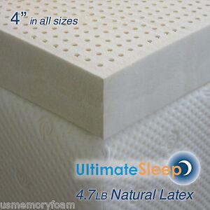 New 4 Inch 100 Natural Latex Mattress Pad Topper King