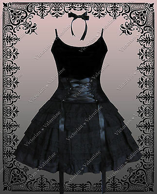 Gothic Victorian Steampunk Alice in Wonderland Dress Corset Cami & Skirt S / M