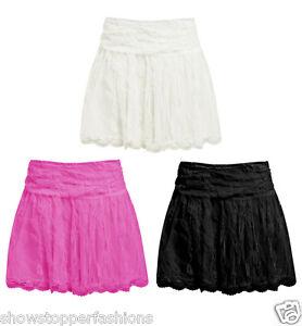 lower price with 12081 bf674 Details zu NEU Spitzenrock Damen Shorts Röcke Damen Mini schwarz  Seitenreißverschluss
