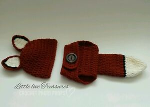 Newborn Baby Boy Girl Fox Hat and Diaper Cover Crochet Outfit Photo ... 920a26855b0