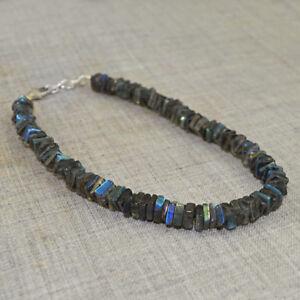 Brillant Véritable 73.00 Cts Earth Mined Untreated Blue Color Flash Labradorite Perles Bracelet-afficher Le Titre D'origine