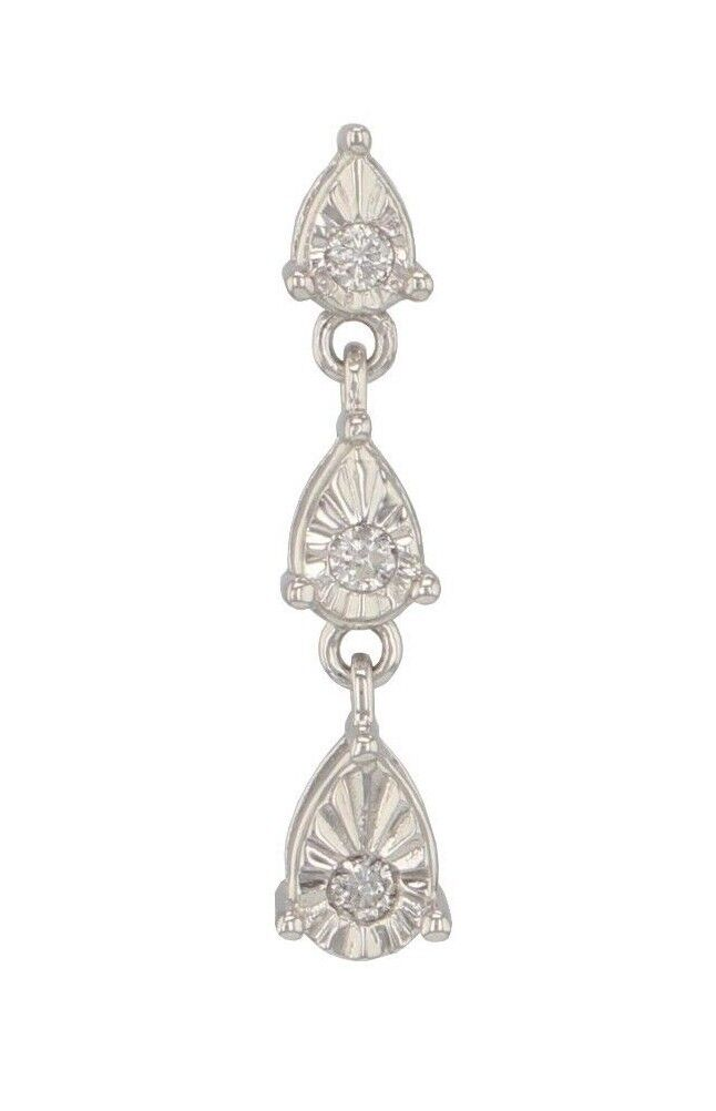 10K White gold Pear Shape Charm Pendant with 0.10 CTW Round Natural Diamonds