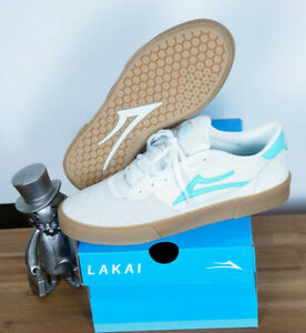Lakai Footwear Skate Schuhe Shoes Cambridge White Teal Suede 10/44