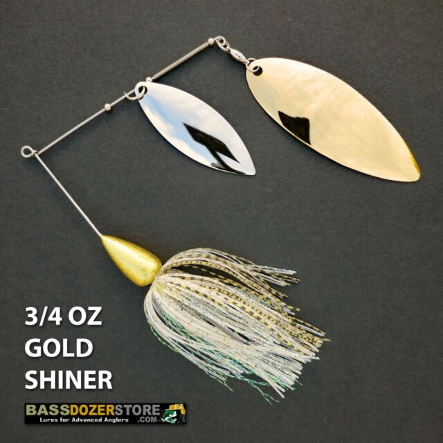 Bassdozer spinnerbaits BIG WILLOW DOUBLE 3/4 oz N. GOLD SHINER spinner bait