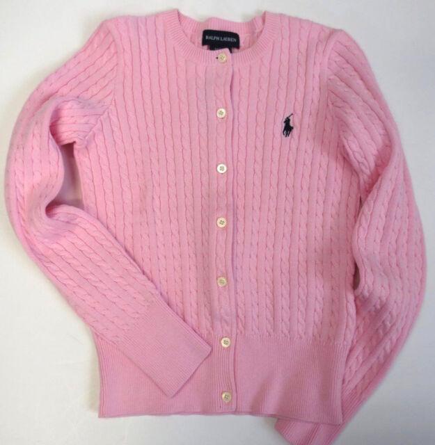c50dfa1699c32 RALPH LAUREN POLO Girls Sz 16 Sweater Kids XL Cable Cardigan NEW