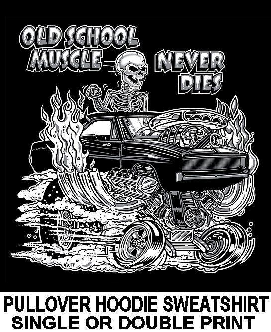 OLD SCHOOL MUSCLE HOT ROD OUTLAW RACE DRAG BLOWER CAR SKULL HOODIE SWEATSHIRT