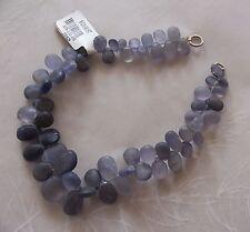 """8"""" Strand Matte Finish Iolite Gemstone Smooth Drop Briolette Beads 6mm-11mm"""