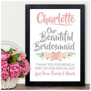 Image Is Loading Personalised Thank You Gift Present Bridesmaids Flower