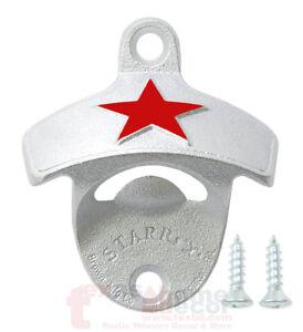 Embossed-Red-Heineken-Star-Beer-Bottle-Opener-Wall-Mounted-Cast-Iron-w-Screws