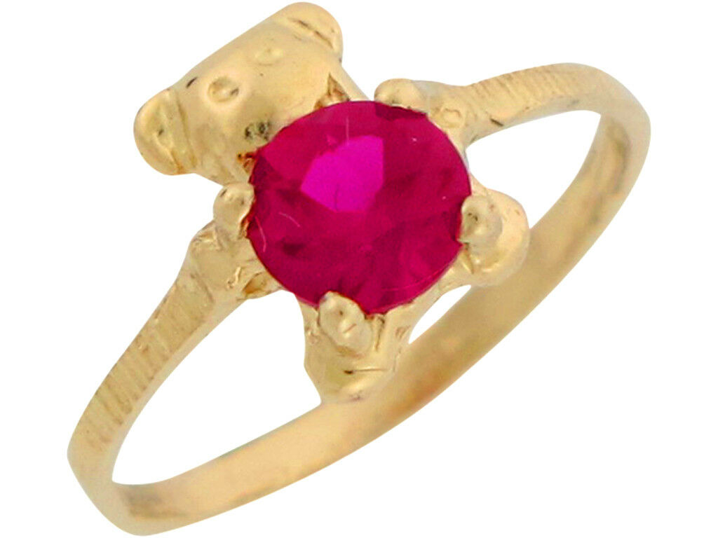10k or 14k Yellow gold Simulated Ruby July Birthstone Cute Baby Bear Ring