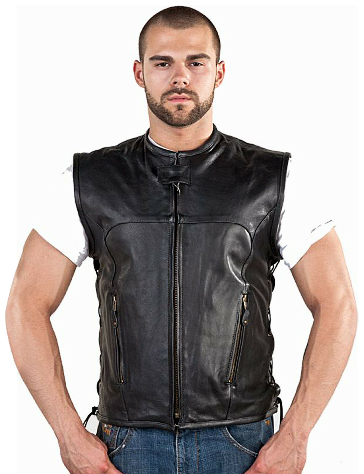Leather Club Vest with Zipper and Side Laces for Men (MV312-11)