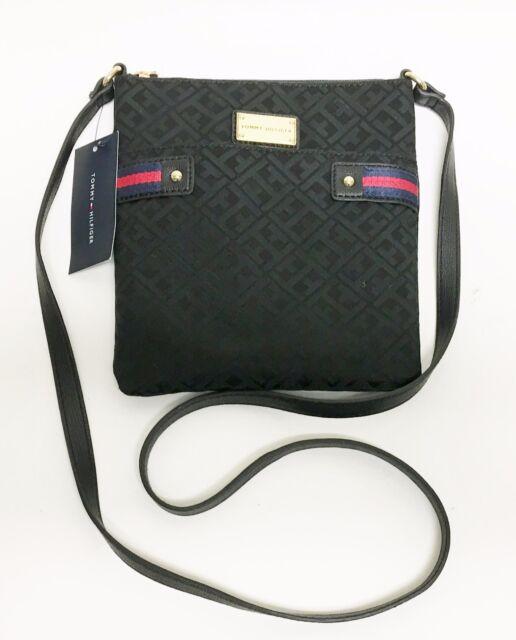 d7424a6534 Tommy Hilfiger Black Blue Red Canvas Gold Shoulder Bag Handbag Crossbody