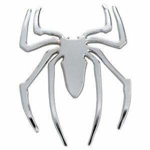 3D-Cromo-Pegatina-Insignia-Emblema-Pista-De-Arana-De-Plata-Etiqueta-Del-Coc-Q6A3