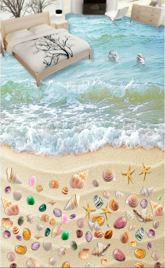 3D Shells beach Blau 235 Floor WallPaper Murals Wall Print Decal 5D AJ WALLPAPER