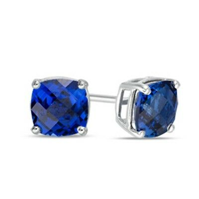 Solid 10k White Gold Simulated Blue Sapphire Square Stud Earrings ~ September