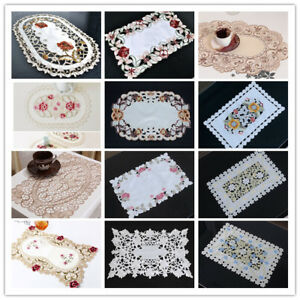 Dining-Table-Place-Mat-Vintage-Embroidered-Lace-Fabric-Placemat-30x45cm-Floral