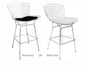 BERTOIA-COUNTER-STOOL-BLACK-or-WHITE-SEAT-PAD-SILVER-CHROME-STEEL-WIRE-25-034-H