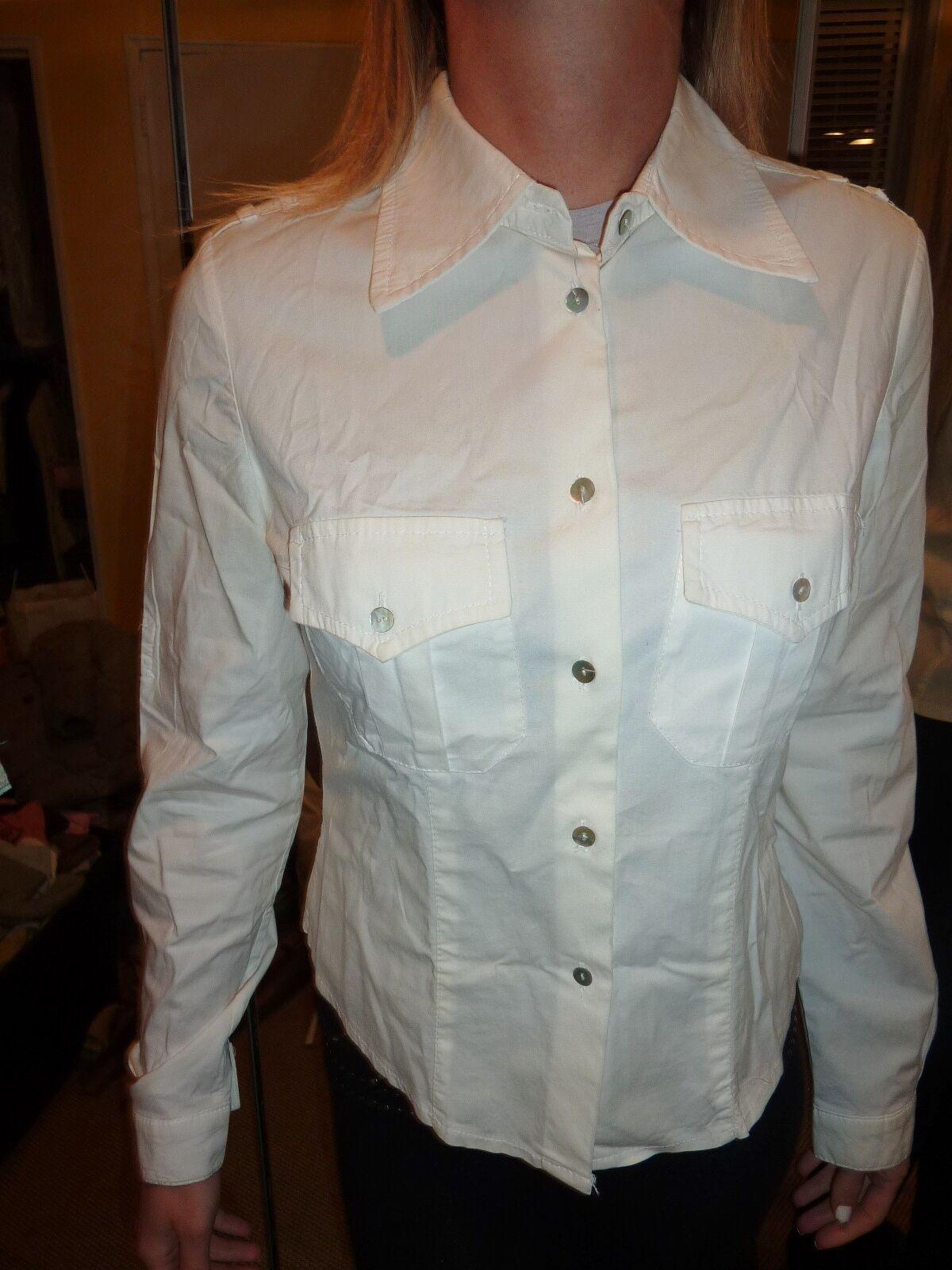 Contatto Italian button down white stretch cotton… - image 2