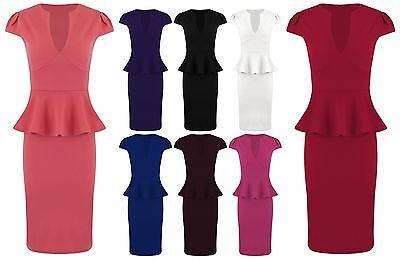 Womens Midi Dress Ladies Peplum Bodycon Plus Size Knee Length Dresses V Neck Top