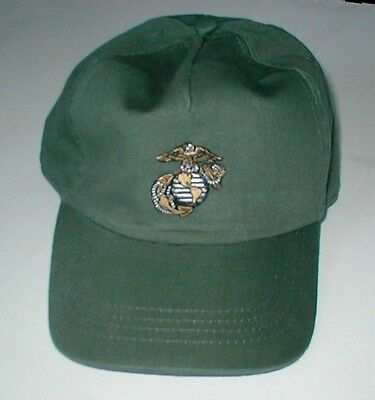 HAT WITH USMC Small Emblem  Gold & Silver Thread, Low  Profile Style Olive Green
