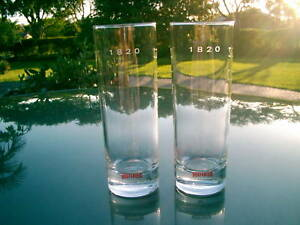 """BEEFEATER LONDON DRY GIN  SET OF TWO 6.5""""  1820 TYPE MIXED GIN DRINK GLASSES"""