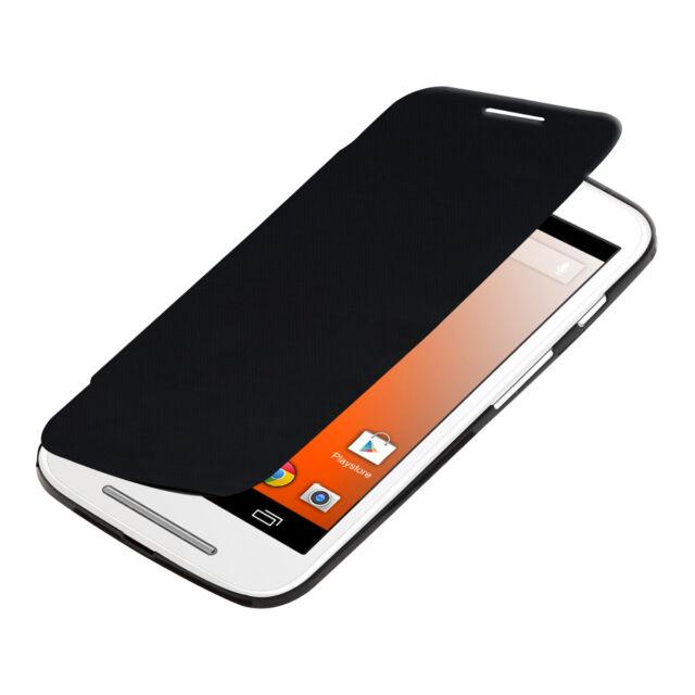 kwmobile Flip Cover Case für Motorola Moto E (2014) Schwarz Schutz Hülle Slim