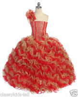 Girl Glitz Pageant Party Wedding Ruffled Dress Bolero Red/gold 2 4 6 8 10 12