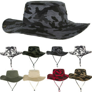 27afd85abf8e8 Details about Men's Camouflage Hats Wide Brim Bucket Hat Sun Protection  Outdoor Fisherman Cap