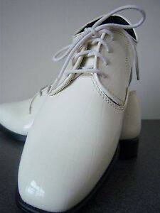Mens-Tuxedo-Dress-shoes-Ivory-faux-patent-leather-with-reptile-texture-10-Wide