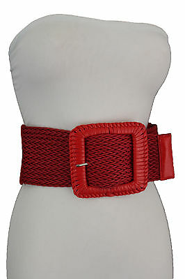 Women Red Elastic Wide Fashion Belt Hip Waist Big Silver Metal Square Buckle M L