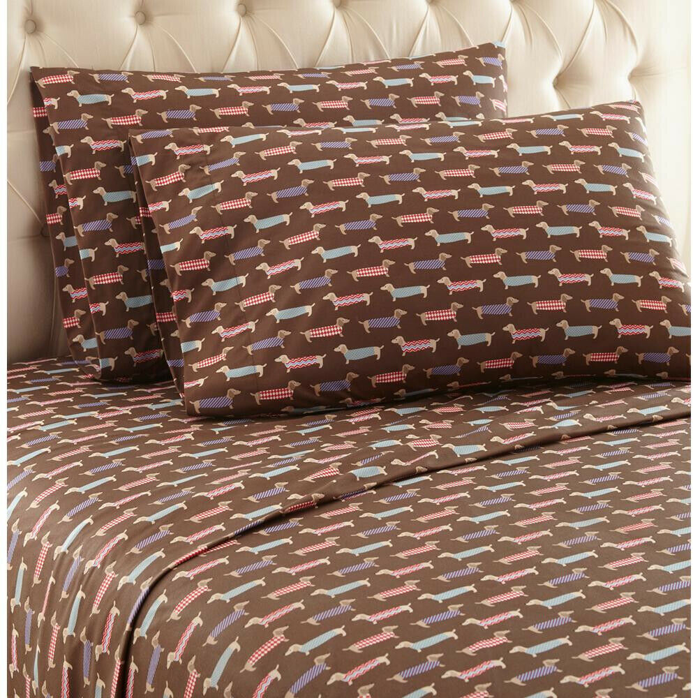 Bed Sheets and Pillow Set Micro Flannel Polyester, Anti-Pill, King (4-Piece)