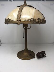 Good-Quality-Vtg-Antique-4-Panel-Curved-Caramel-Slag-Glass-Table-Lamp-C-1911